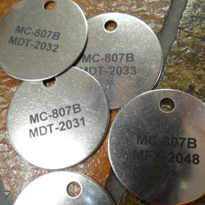 Industrial Engraving - Engraved Stainless Steel Tags - Engrave It Houston