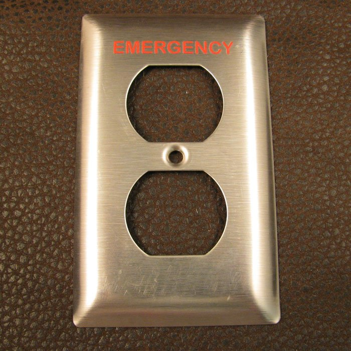 industrial engraving - custom labeled outlet cover