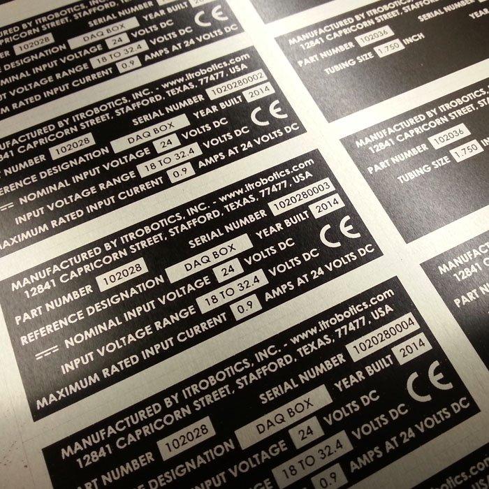 Industrial Printing - Metal Tags Custom - Engrave It Houston