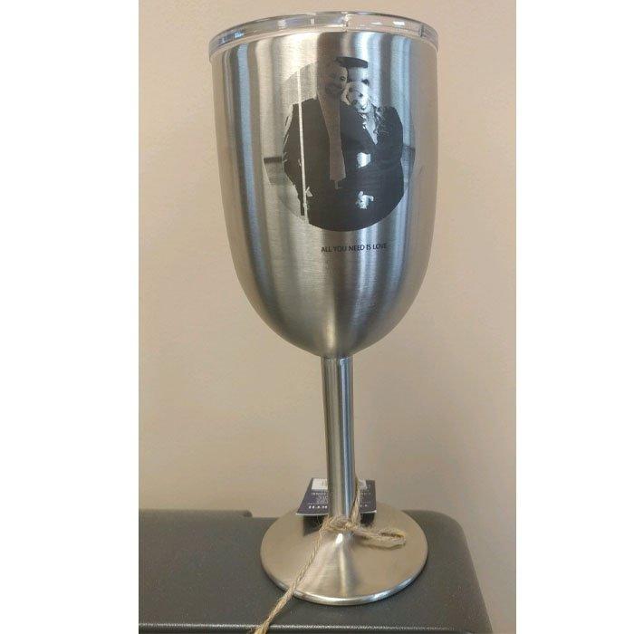 metalphoto engraved steel wine glass