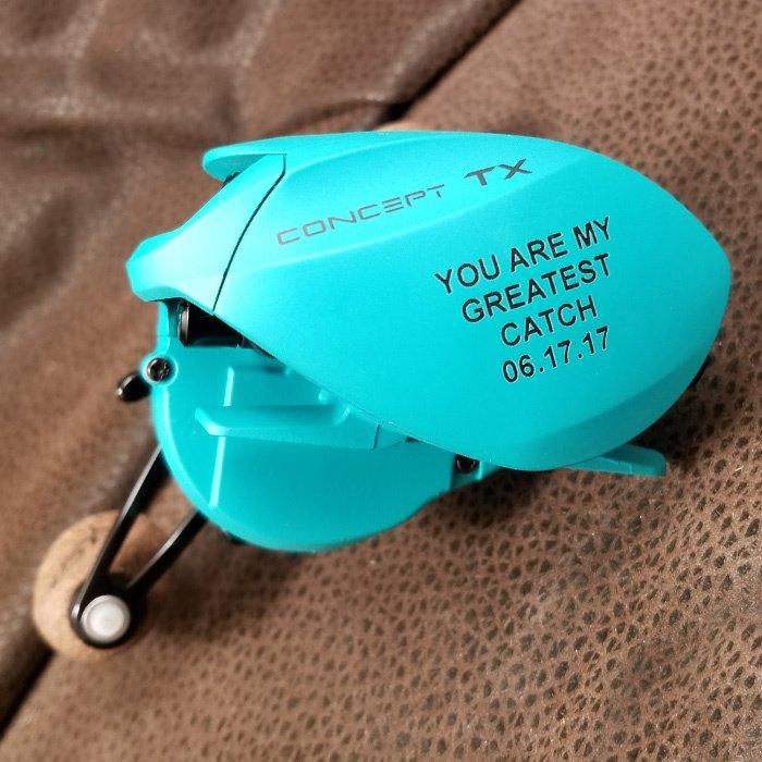 custom engraved personalized fishing reel