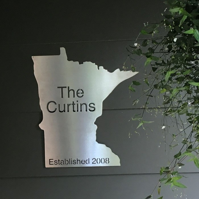 laser cut stainless steel sign