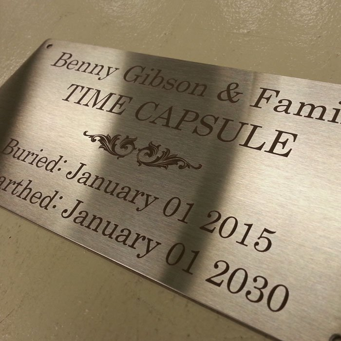 custom engraved time capsule plaque