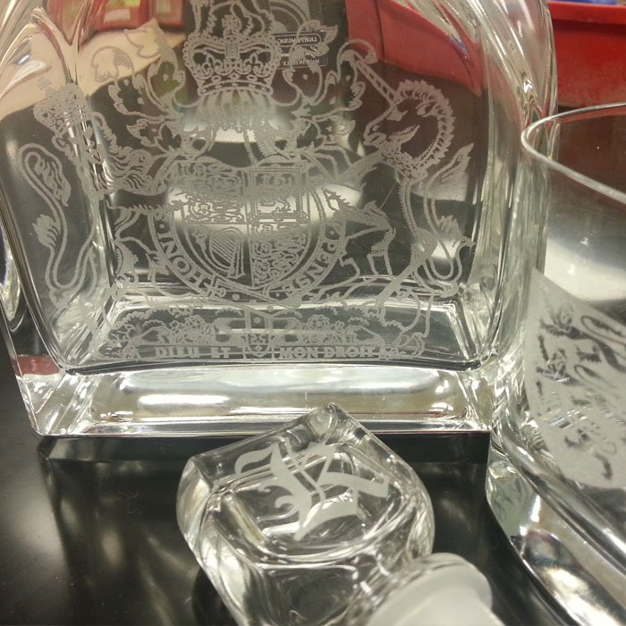 custom engraved decanter and glasses - wedding party gift