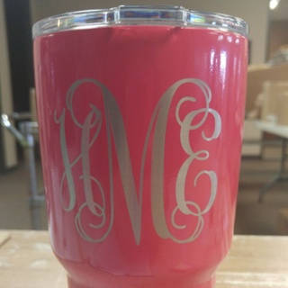 Vine Monogram Font - Lipstick Pink Powder Coat