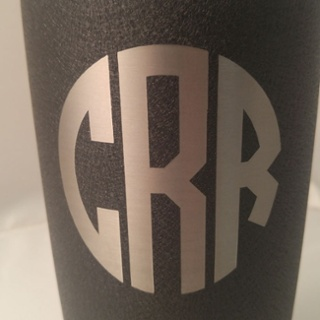 Circle Monogram Font-Black Splatter Powder Coat