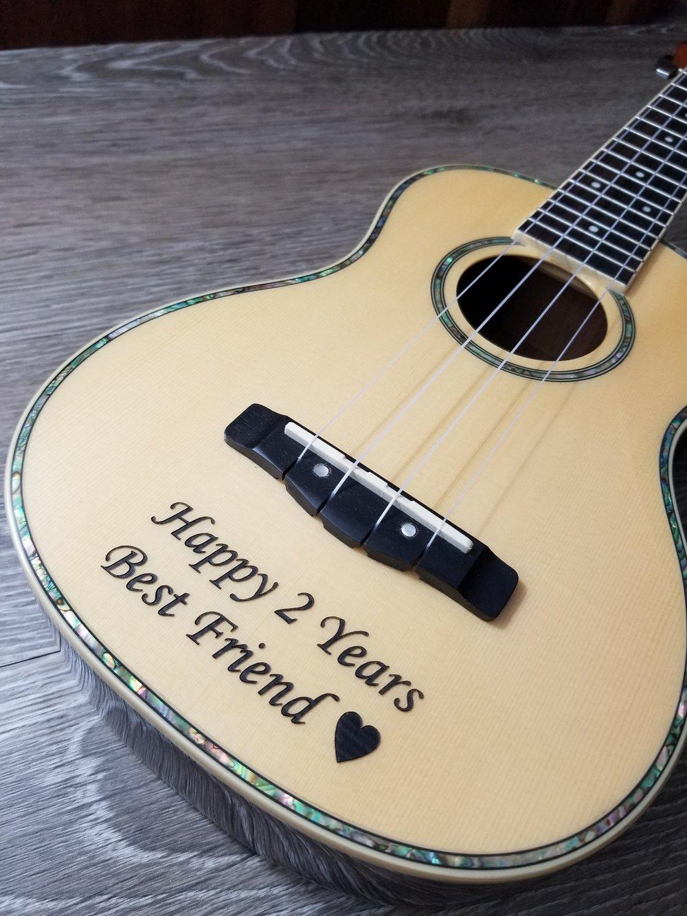 Engraved Guitar - Engraved Ukulele - Engraved instruments - Personalized Guitar - Personalized Ukulele - Custom Ukulele - Instrument Engraving - Custom Instruments - Engrave It Houston