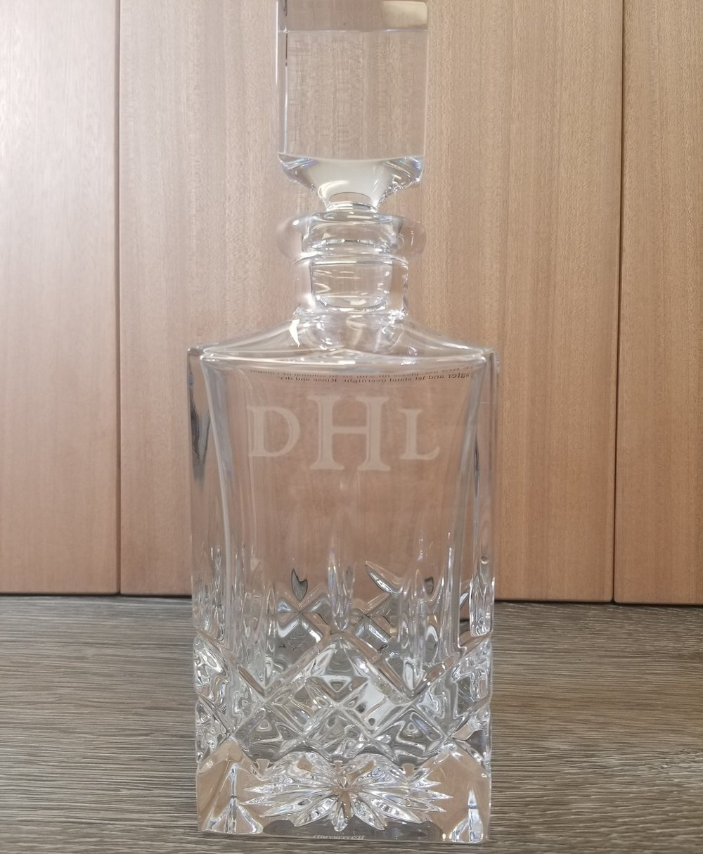 Copy of Engraved Decanter - Personalized Decanter - Engraved Bottle - Personalized Bottle - Engraved Liquor Bottle - Engraved Crystal - Custom Projects - Engrave It Houston