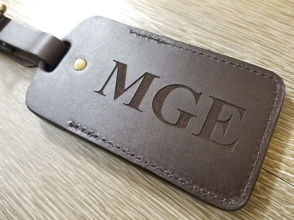 Engraved Leather Luggage Tag - Personalized Leather Luggage Tag - Custom Luggage Tags - Engraved Luggage Tags - Monogram Luggage Tag - Custom Projects - Engrave It Houston