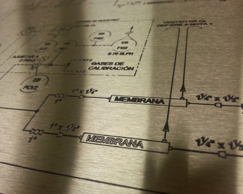 Schematic Panels - Highly detailed, precision accurate schematic panels. Laser engraved, marked, etched, or direct printed to your exact specifications.