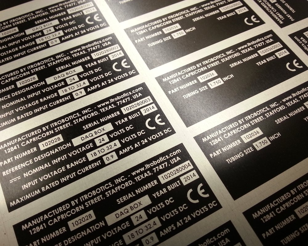 Custom Tags / Labels - Custom tags or labels, produced from a variety of different materials including stainless steel, aluminum, and plastic. Laser engraved, marked, etched, or direct printed in accordance with your technical specifications and project needs.
