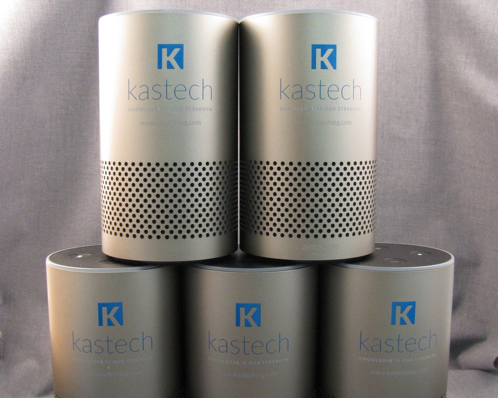 Branded Amazon Echo - Have your logo or branding direct printed in stunning full color on Amazon Echo smart speakers.