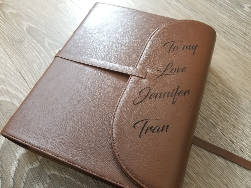 Personalized leather books/journals - Have your design or text laser engraved, marked, or etched on leather bound books, journals, diaries, notebooks, and more.