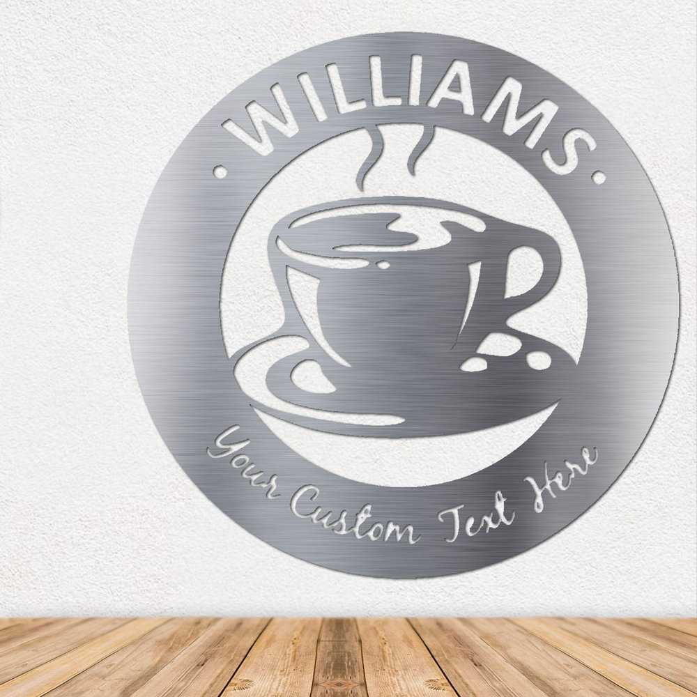 Coffee Cup Metal Art - Metal Wall Art - Stainless Steel Wall Art - Metal Signs - Stainless Steel Signs