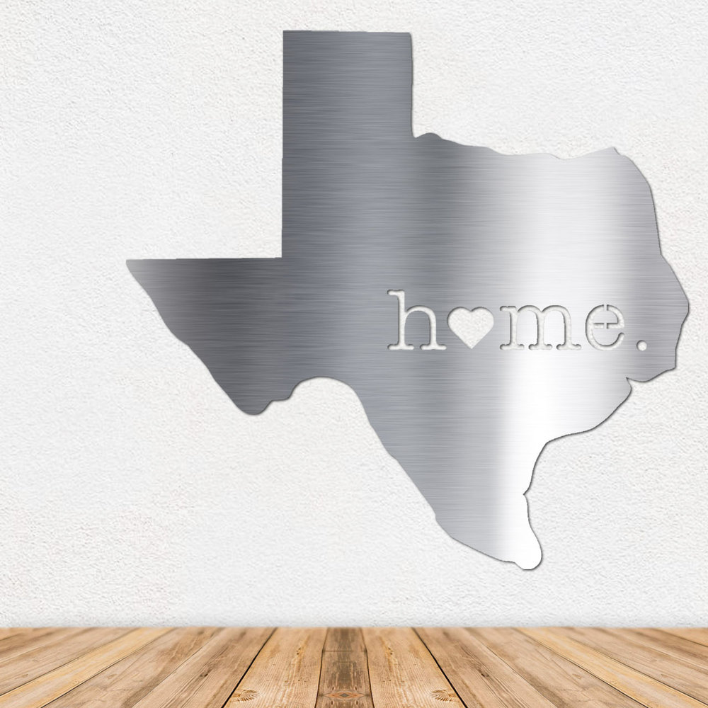 Texas Metal Wall Art - Metal Wall Art - Stainless Steel Wall Art - Metal Signs - Stainless Steel Signs