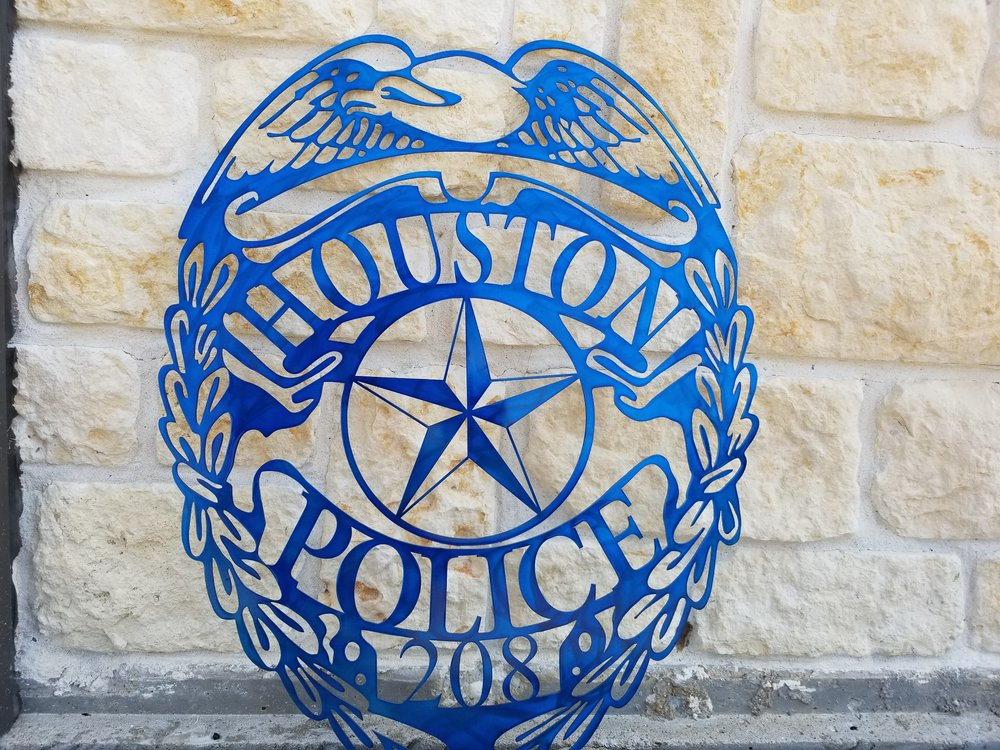 Houston Police Badge Metal Wall Art - Police Badge Art - Police Art - Metal Wall Art - Stainless Steel Wall Art