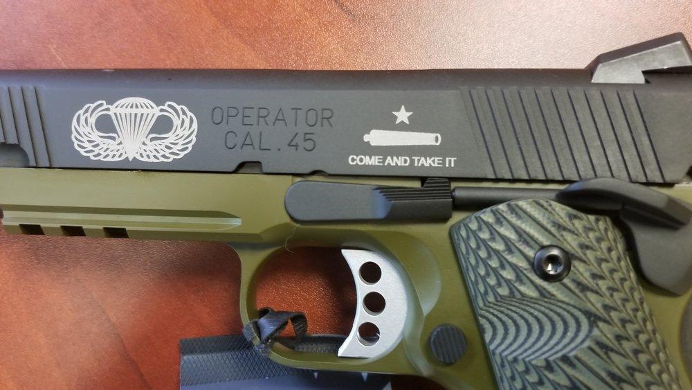 Engraved Pistol Slide - Engraved Slide - Personalized Pistol Slide - Personalized Handgun Slide - Engraved Handgun Slide - Firearm Engraving Projects - Engrave It Houston