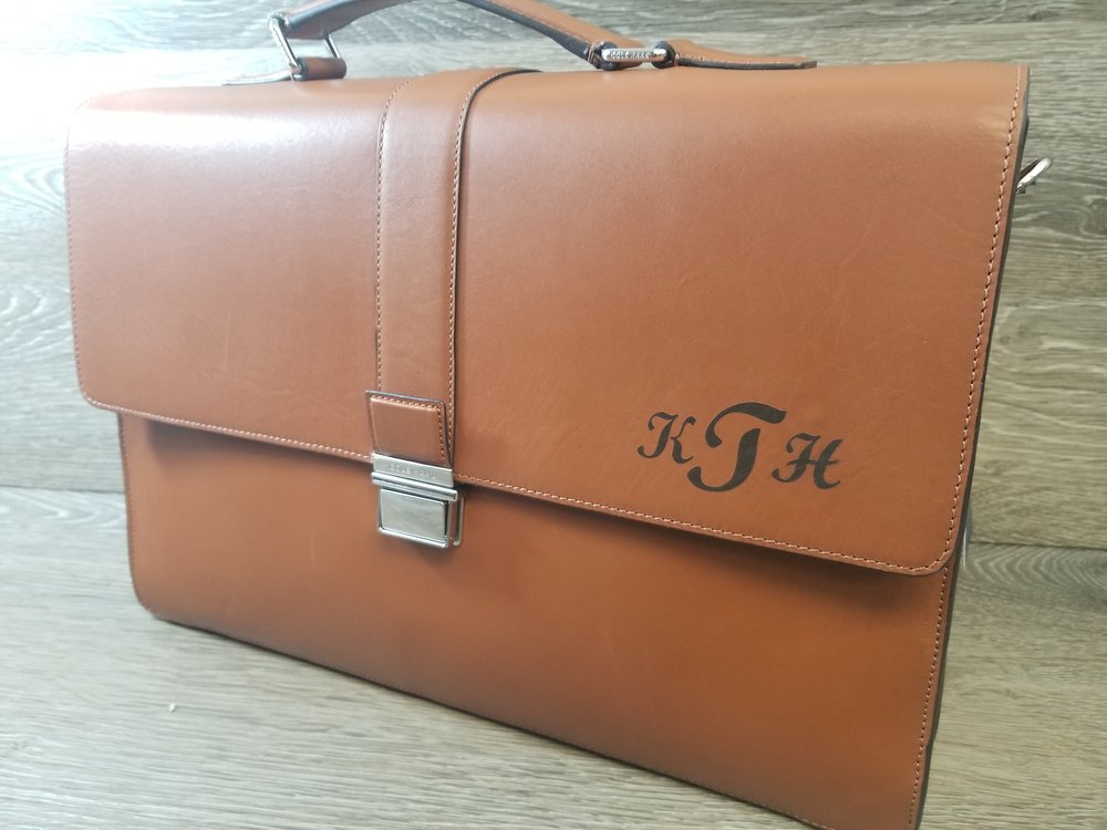 Engraved Leather Bag - Engraved Leather Briefcase - Engraved Leather Luggage - Personalized Leather Bag - Personalized Leather Briefcase - Personalized Luggage - Custom Projects - Engrave It Houston
