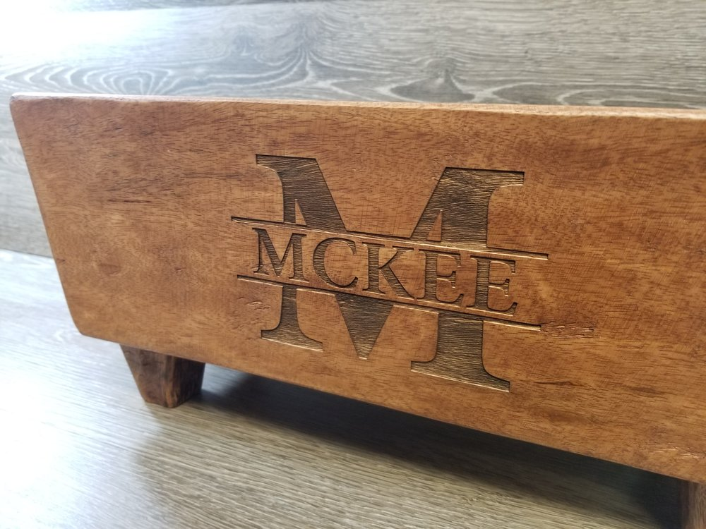 Engraved Wine Trough - Custom Wine Trough - Personalized Wine Trough - Wood Engraving - Custom Wood Burning - Custom Projects - Engrave It houston