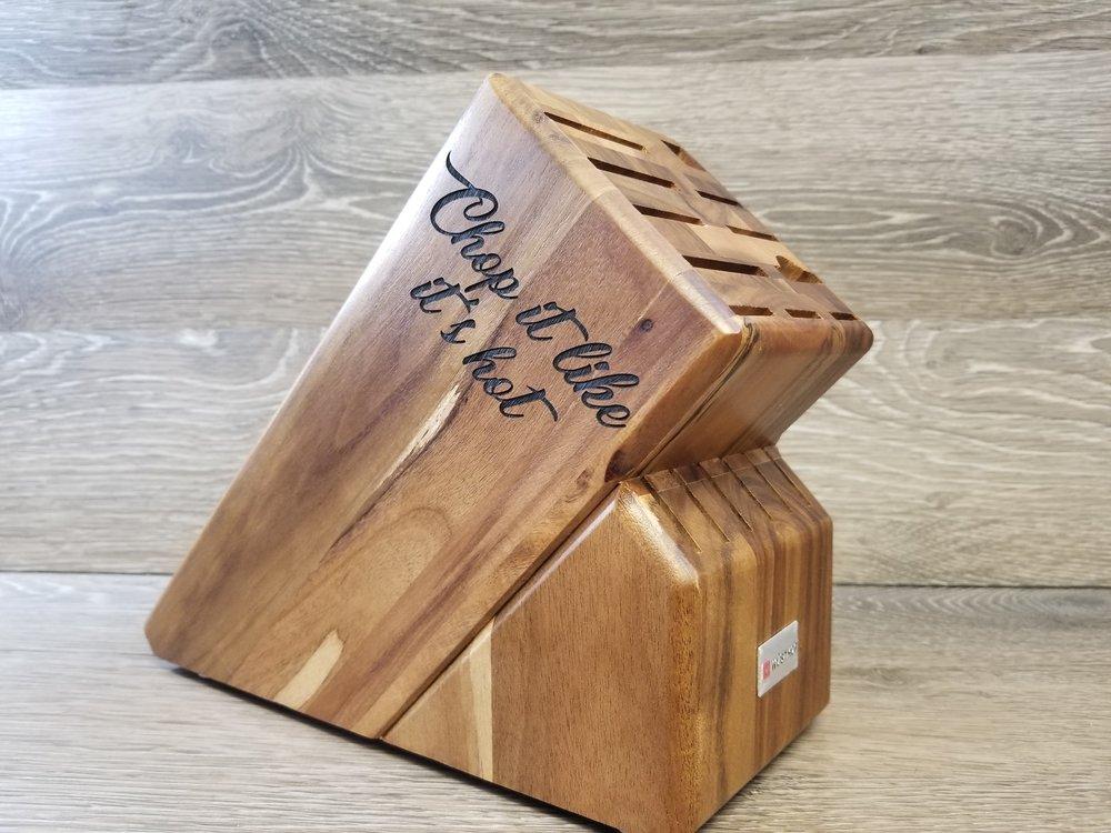 Engraved Knife Block - Custom Knife Block - Personalized Knife Block - Engraved Kitchen Equipment - Custom Kitchen Equipment