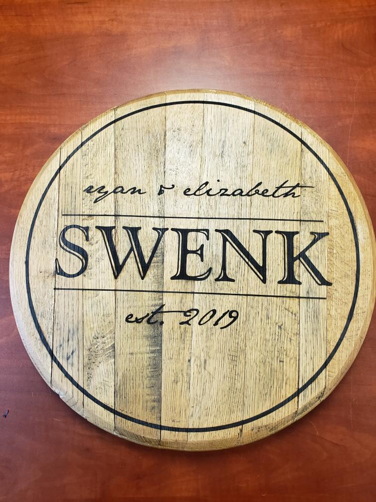 Custom Engraved Table Top - Custom Engraved Barrel Head - Custom Wood Engraving - Laser Wood Printing - Engrave It Houston