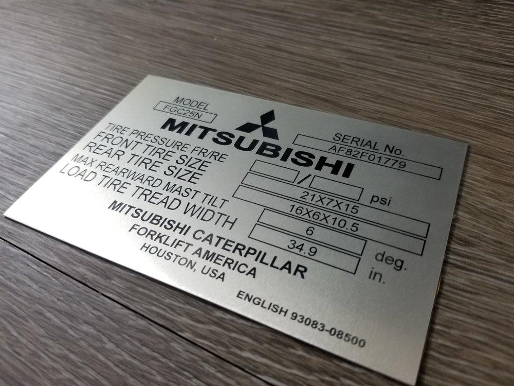 Industrial Engraving - Industrial Stainless Steel Info Plate - Stainless Steel Plates - Stainless Steel Tags - Stainless Steel Engraving - Engrave It Houston