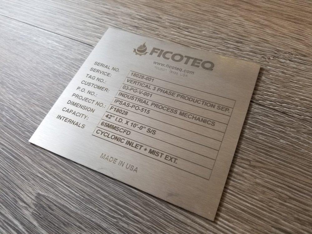 Laser Engraved Stainless Steel Plate - Engraved Metal Plates - Custom Industrial Metal Plates - Industrial Engraving - Engrave It Houston
