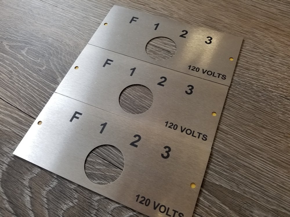 Industrial Engraving - Engraving on Stainless Steel - Laser Cutting - Panel Engraving - Custom Stainless Steel Plates - Engrave It Houston
