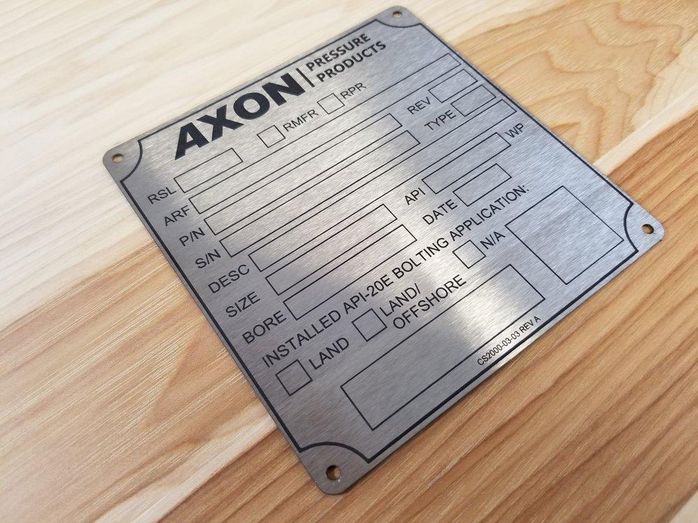 Laser Engraved Stainless Steel Plate - Engraved Metal Plate - Engraved Metal - Laser Engraved Metal Plate - Industrial Engraving - Custom Metal Plates - Engrave It Houston