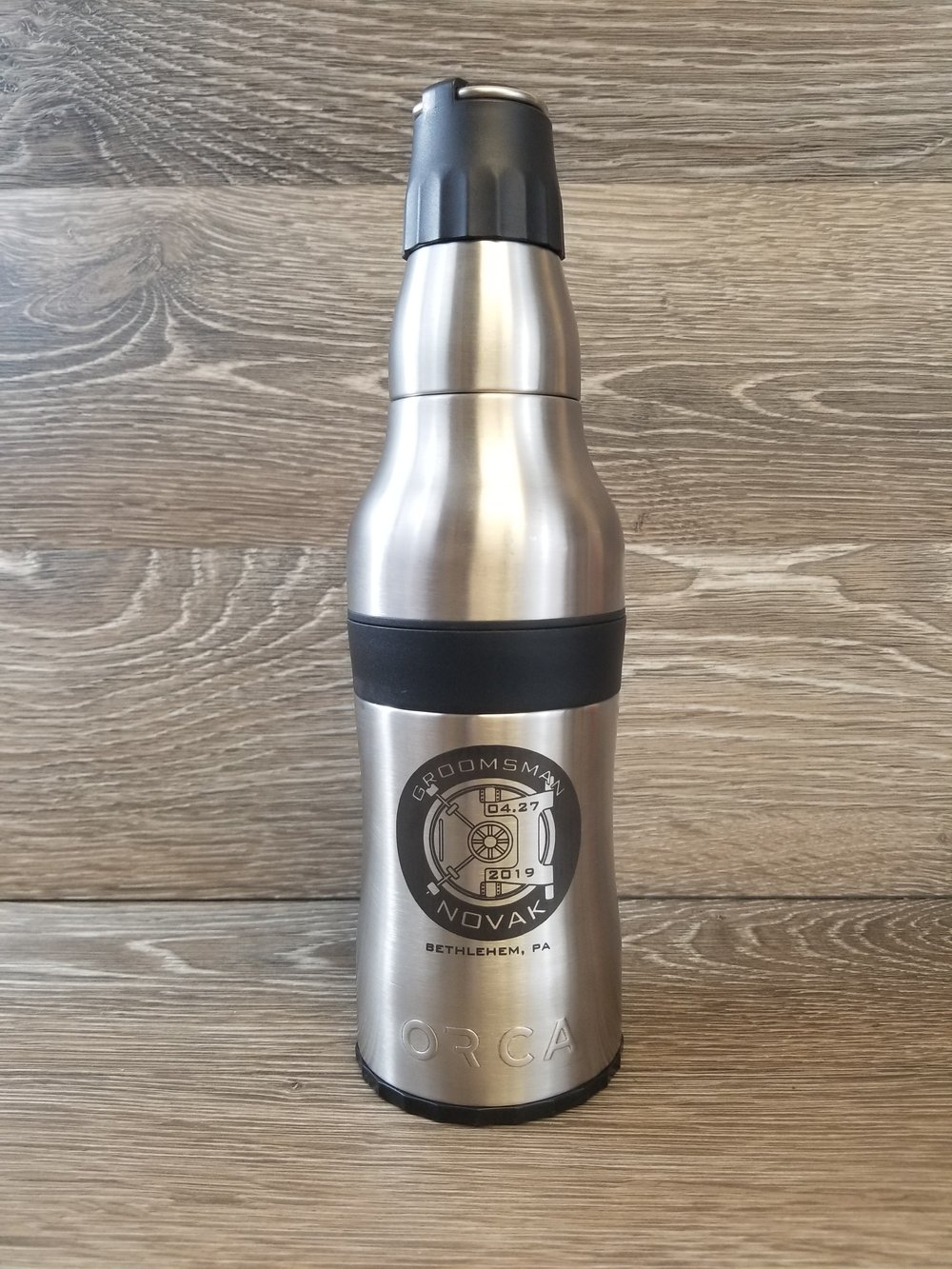 Engraved Bottle Koozie - Custom Bootle Koozie - Personalized Bottle Koozie - Engraved Stainless Steel Bottle Koozie - Personalized Insulated Bottle Koozie - Engrave It Houston