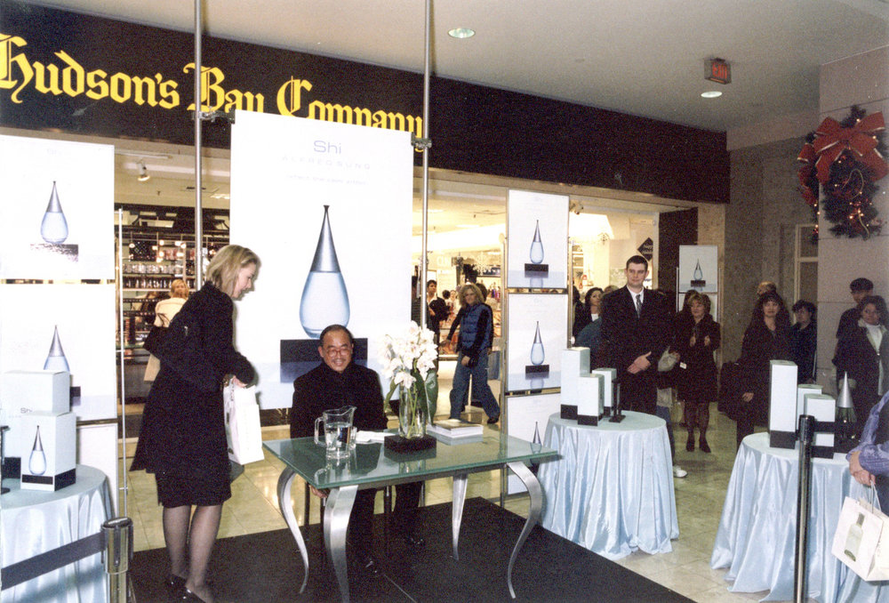 Alfred appeared to sign autographs at The Hudson's Bay Company in Toronto. The bottle and packaging won an HBA International Packaging Design Award in 2001.