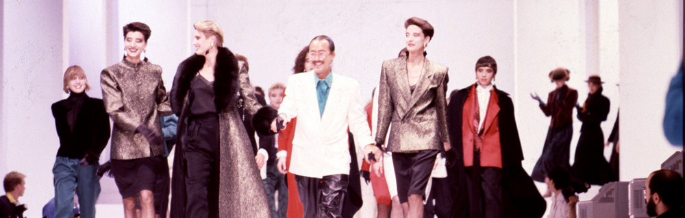 Alfred Sung walks the runway after the historic fall/winter 1985 Canadian Festival of Fashion in Toronto. It is still considered the largest attended fashion show in Canadian history.