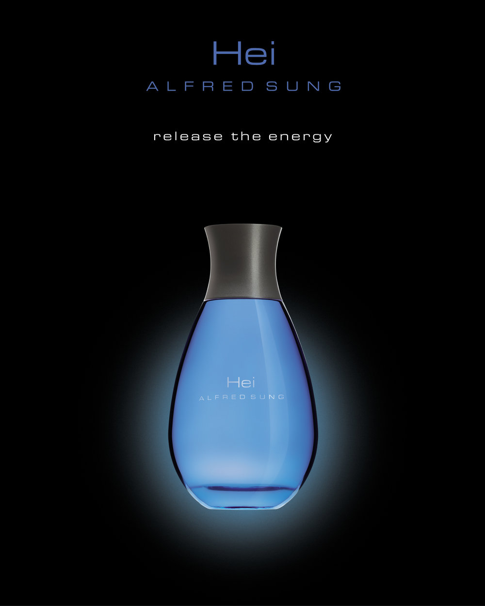 """The original ad image for HEI ALFRED SUNG. """"release the energy"""""""