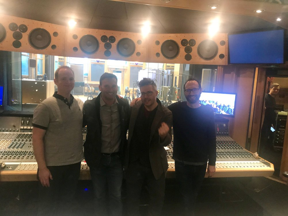 The McMafia Music Team: Chris Warner (scoring assistant, orchestrator, score preparation), Mark Wylie (mix engineer), Tom Hodge and Franz Kirmann (composers) @ Air Studios