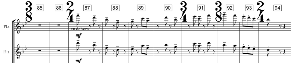 The  No Frets  main theme as it appears in the upper wind parts