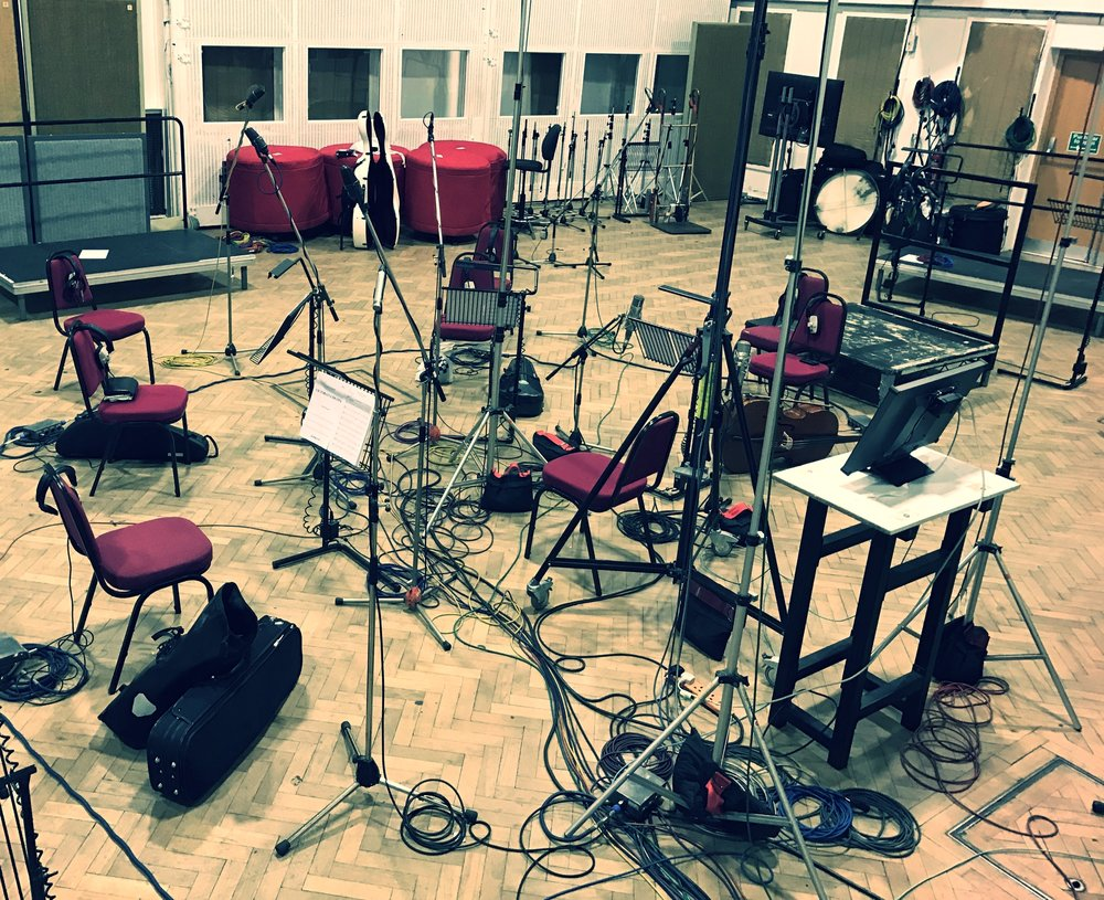 All set up for the quintet session at Abbey Road