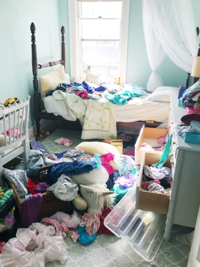 My 6-yr-old daughter's bedroom in typical disarray