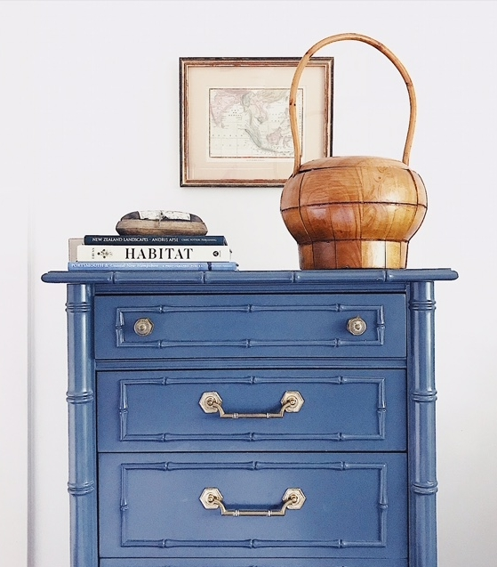 A vintage Thomasville faux bamboo dresser with a fresh coat of paint.