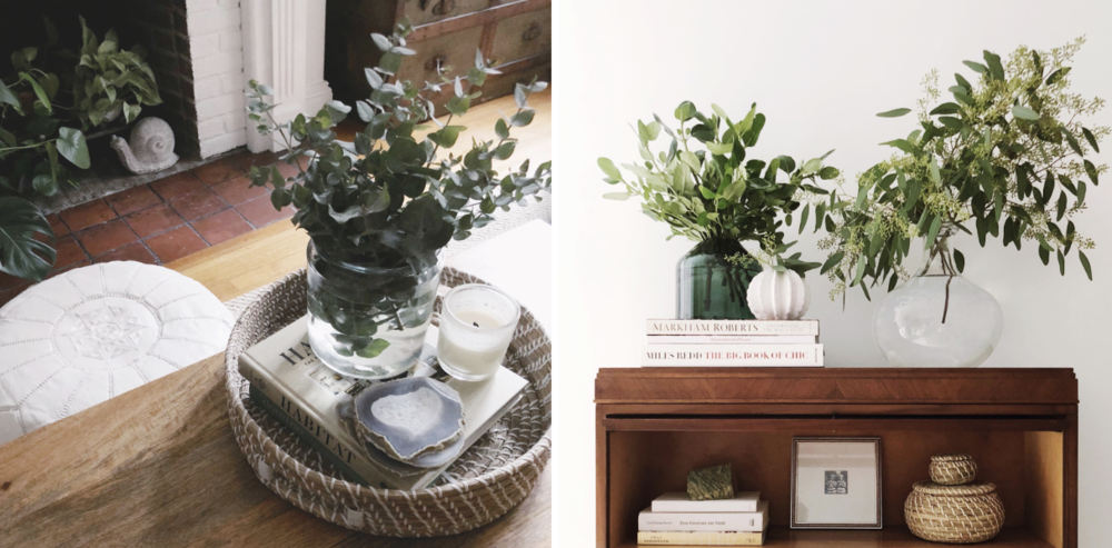 Left: A woven basket tray is used to corral clutter on this natural wood coffee table, including coasters of sliced agate and a fresh bunch of fragrant eucalyptus.    Right: Seeded and silver dollar varieties of eucalyptus top a bookcase in this New England home. The shelf below holds a chunk of green granite native to the region, and nesting seagrass baskets.