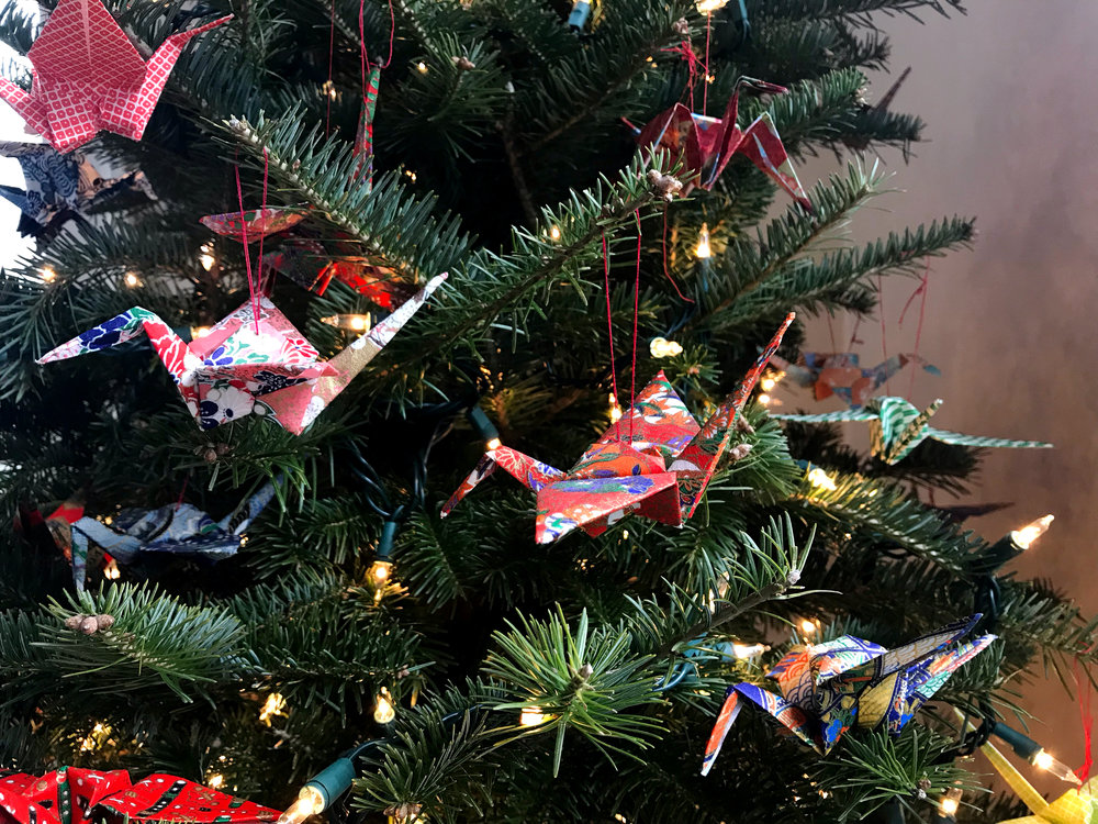 close up origami cranes