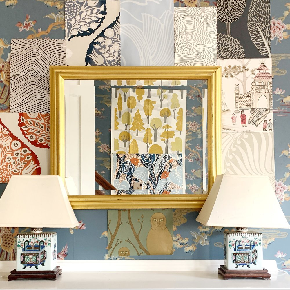 A sampling of wallpaper samples gracing (or cluttering) my entry. You decide!