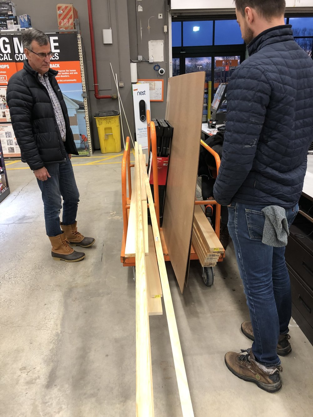 Getting our supplies at Home Depot