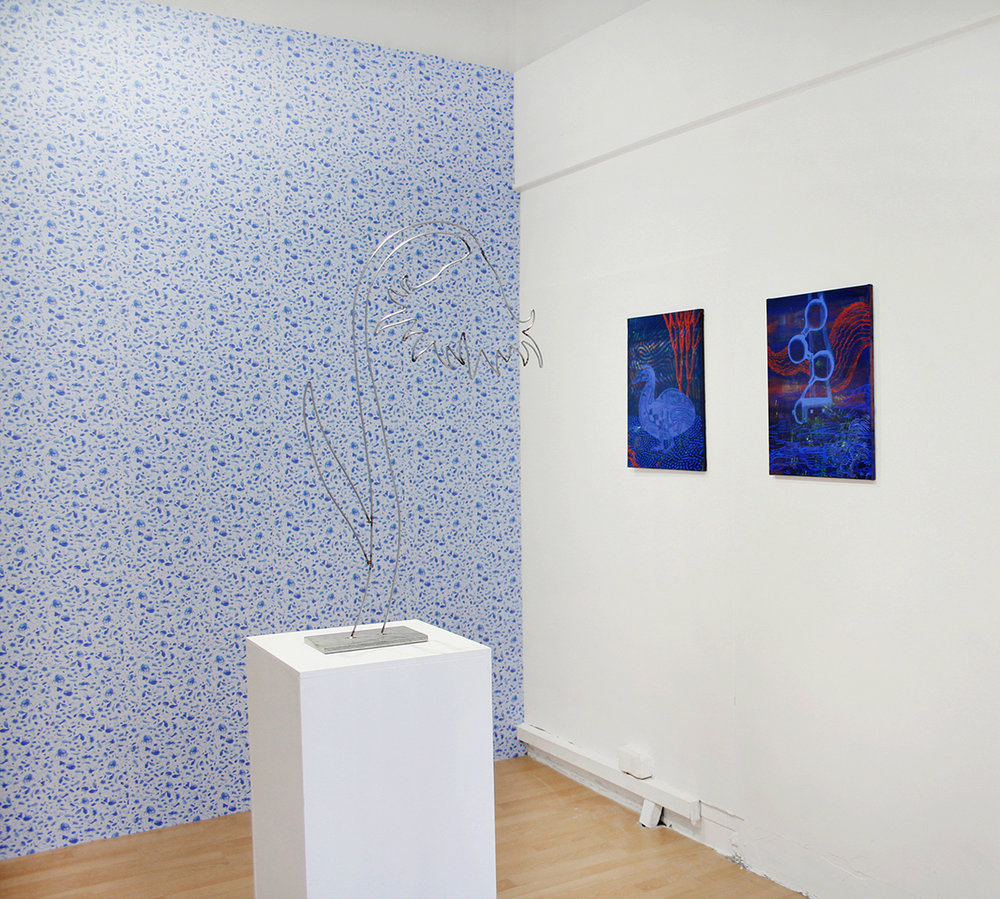 """Installation shot of """"Tales of an itchy body and mind"""", with Maren Schneider at RaumZ13, 2018"""