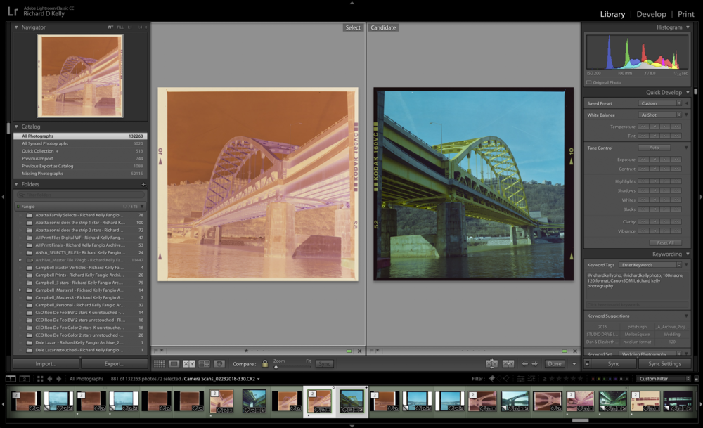 In Lightroom comparing a Camera Scan Negative with a Positive Rendering. © Richard Kelly Photography