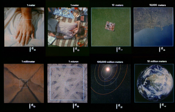 Images from the Charles and Ray Eames 1977 film Powers of Ten – a look at the interconnections of scales large and small.