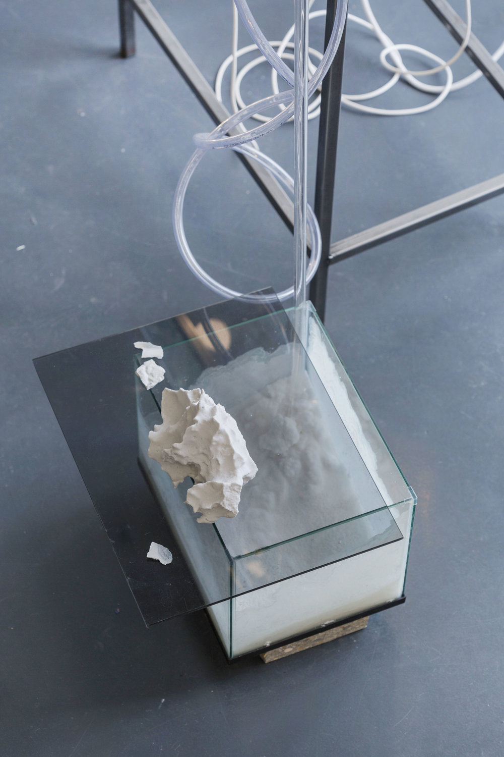 3D printed plaster powder salt rocks : Hannah Rowan,  Melting Transmission  (detail), 2018, image by Oskar Proctor.