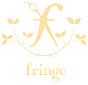 Fringe NY Hair Salon Logo. Scissors and vines. Yellow logo.