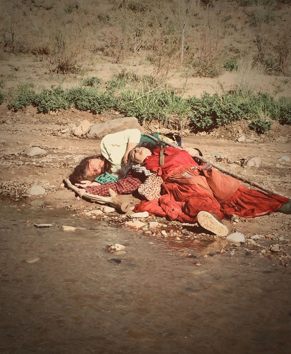 Two Crones Resting from  The Crone River Walk,  a Rite of Passage ritual performance in the Santa Fe River 2013. Photo by Danielle Louise Reddick. Performers Ahjo and  Sage