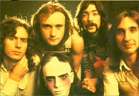 Genesis - The early 70s lineup featuring (from left to right) Tony Banks, Phil Collins, Peter Gabriel, Steve Hackett, Mike Rutherford
