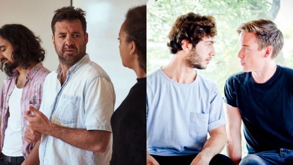 Links een foto van een scene uit Kleurles, rechts een beeld uit Homonologen